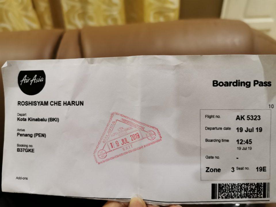 boarding pass airport kota kinabalu sabah