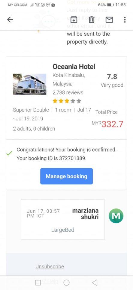 kos booking hotel oceania sabah